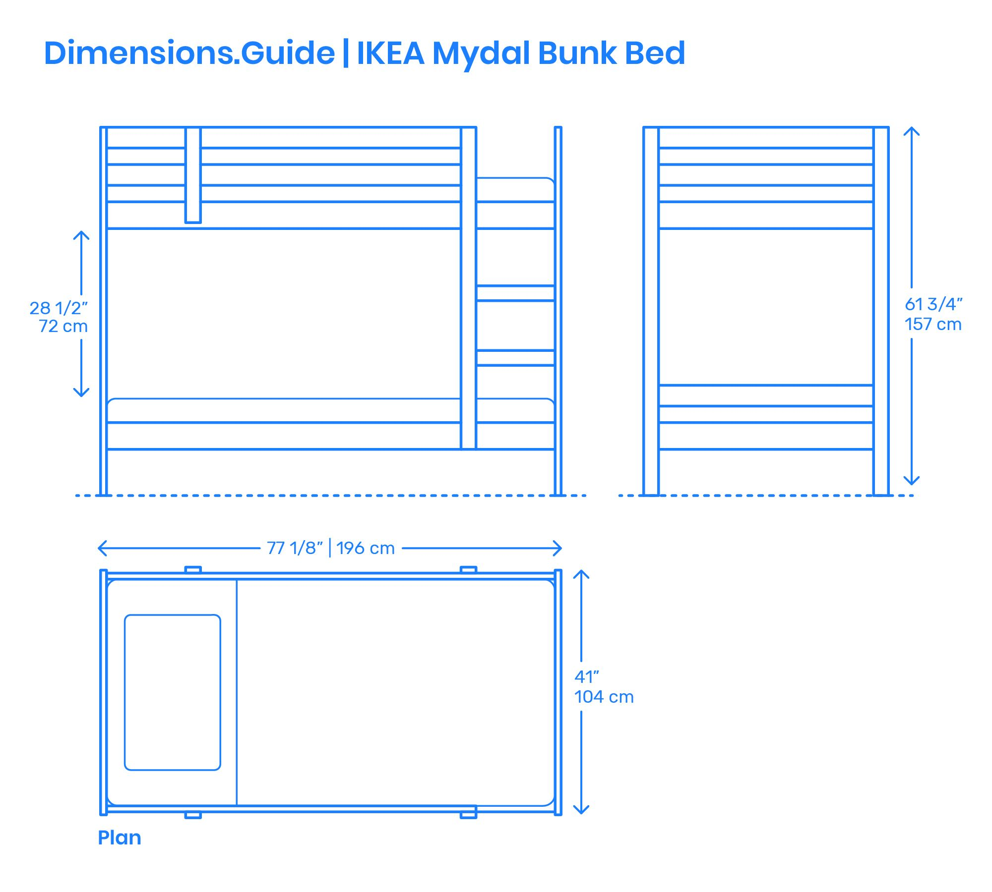 The Ikea Mydal Bunk Bed Is An Untreated Solid Pine Wood Bunk Bed That Can Be Left Natural Or Painted As Desired The Ikea M Ikea Mydal Bunk Beds Bed Dimensions