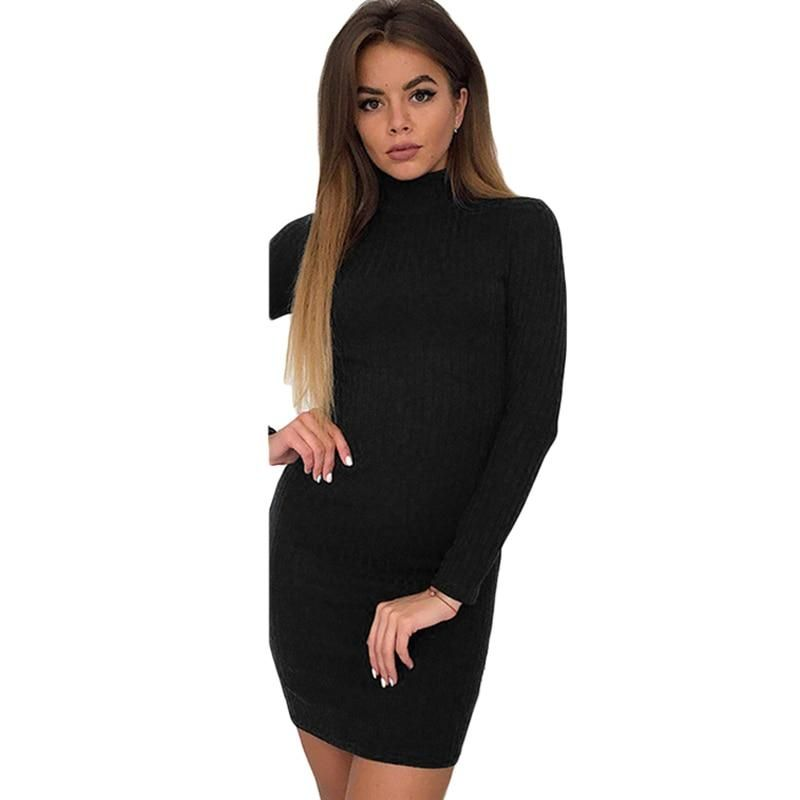 ddafedacb2a Turtleneck Dresses New Long Thin Knitted Sweater Dress Lady Slim Bodycon  Women Dress Long Sleeves