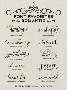A Collection Of Romantic Inspired Fonts From Elegance And Enchantment Perfect For Valentines Day Projects Blogging Crafts More