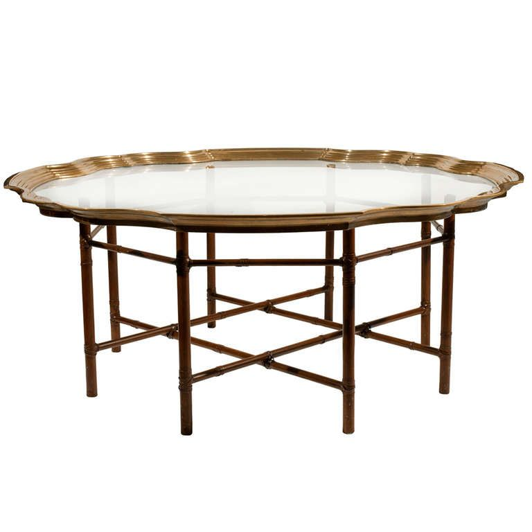 Baker Faux Bamboo And Brass Coffee Table
