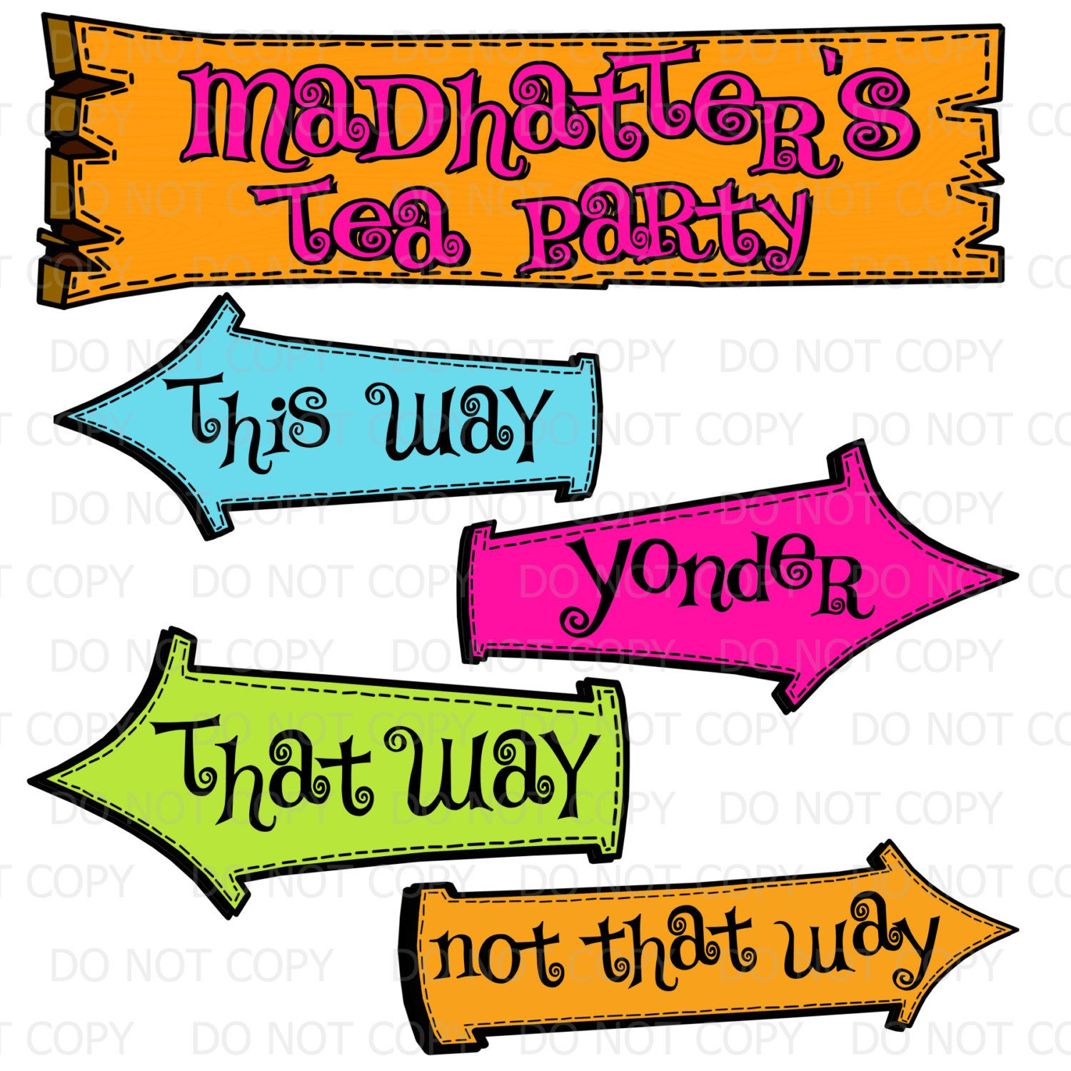 Printable Diy Madhatter S Tea Party Sign And Arrows Etsy