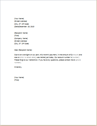Letter Of Apology For Late Payment Download At Http