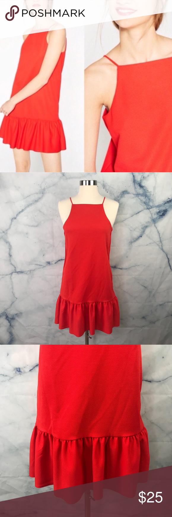 67ab03e1 Zara W/B Collection Orange Halter Shift Dress New with tags Zara size  medium, orange-red mini dress with halter style sleeveless top. Ruffle hem.