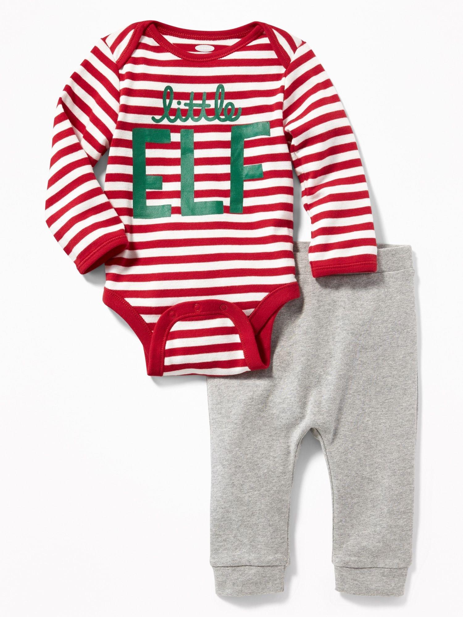 3c940de6c Holiday-Graphic Bodysuit   Patterned Pants Set for Baby