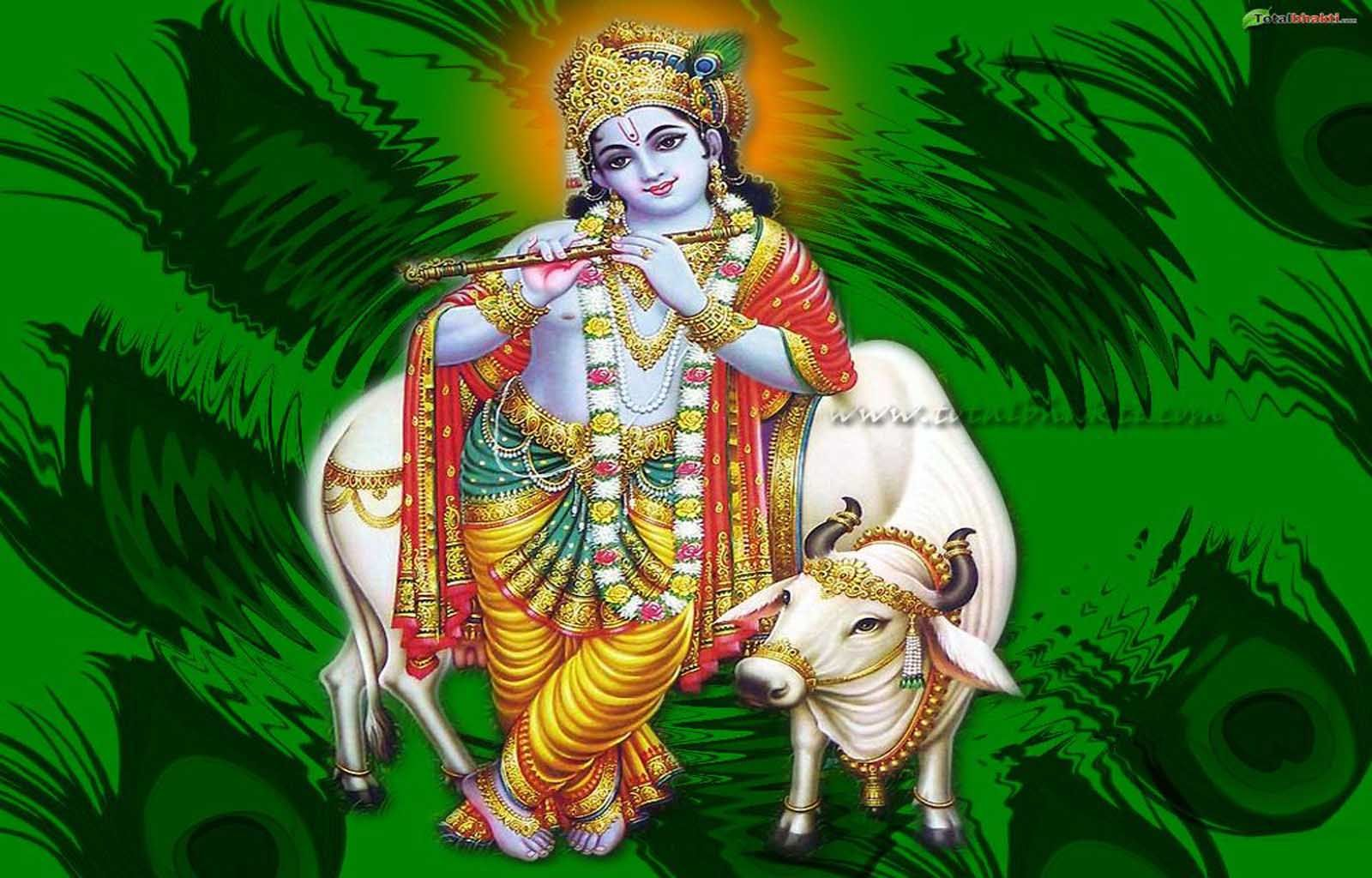 Krishna Wallpaper Hindu Lord Image Green Color Download