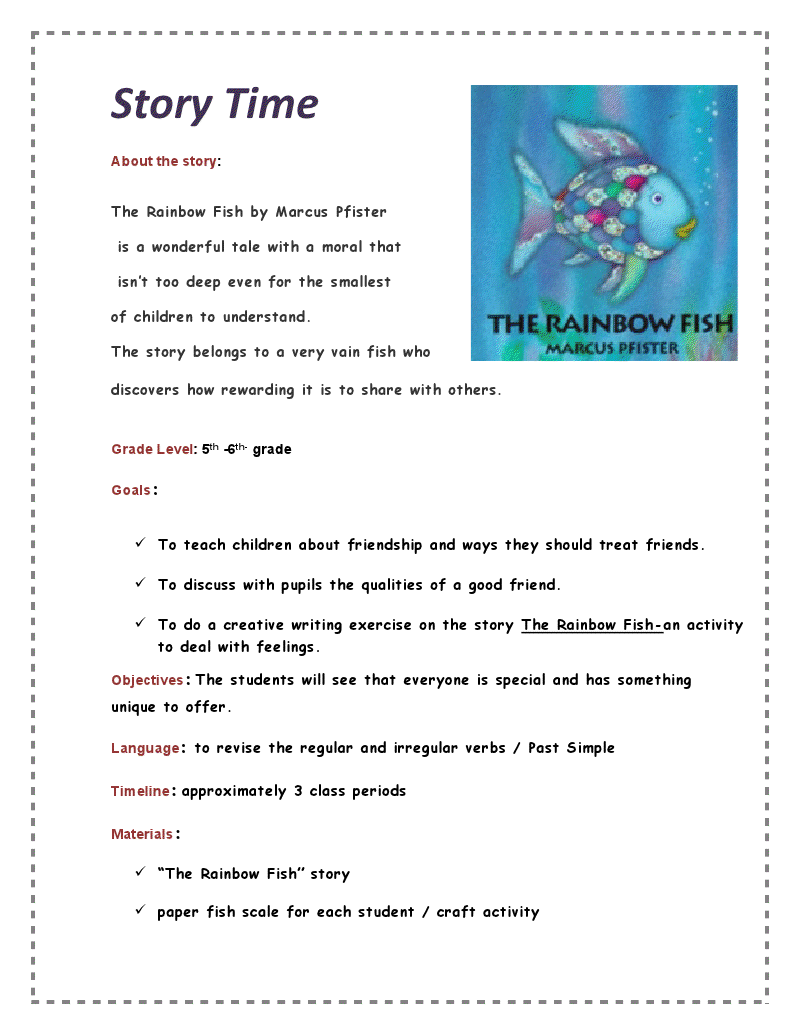 Rainbow Fish Reading and Math Packet | Rainbow fish