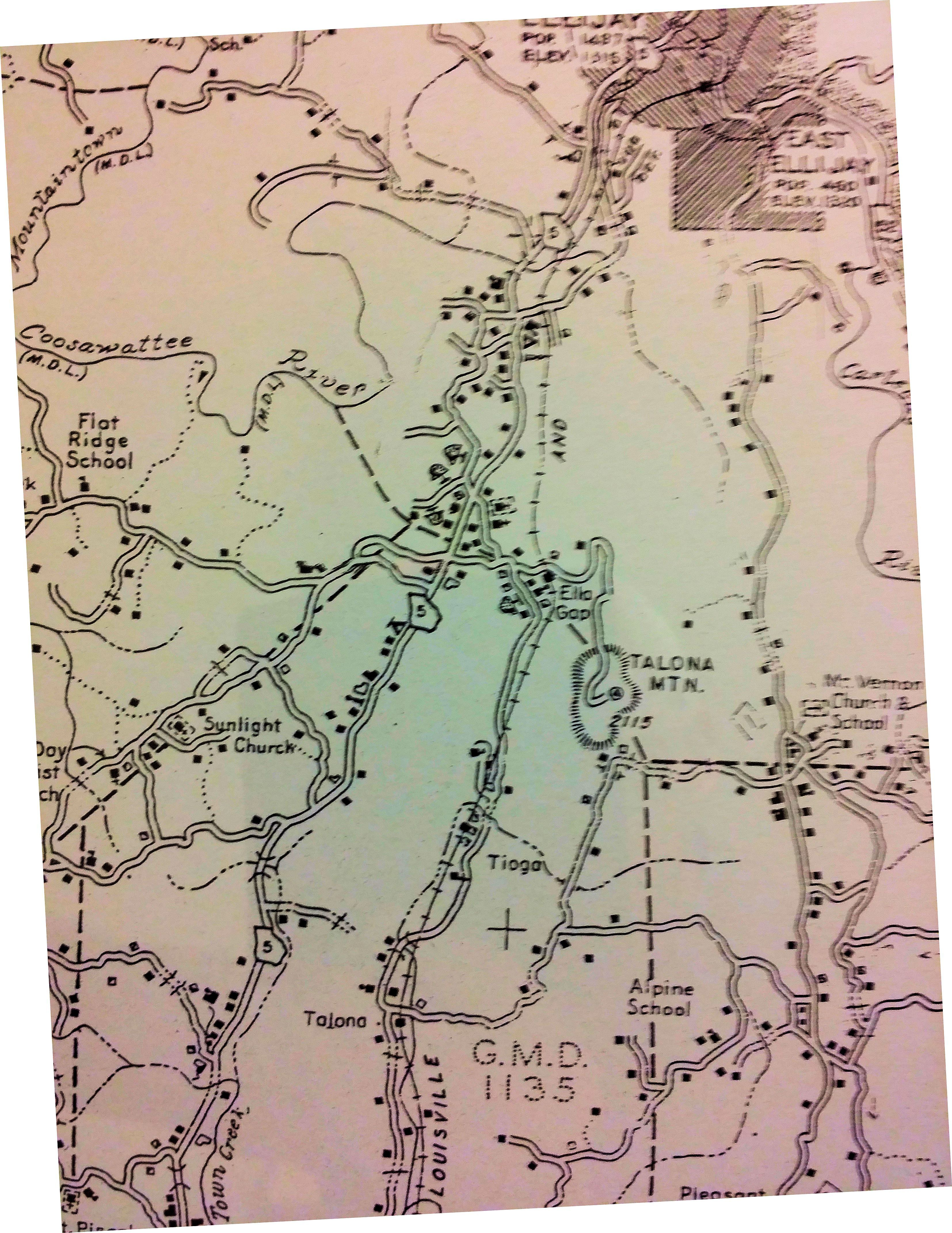 Map Of Georgia Ellijay.1940 Map Showing The Southern Section Of Gilmer County Georgia This
