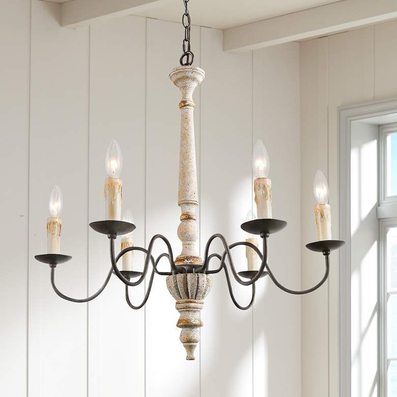 Izuell 25 Wide Off White 6 Light Candle Chandelier 85k11 Lamps Plus Candle Chandelier Chandelier Country Chandelier Real candle chandelier lighting
