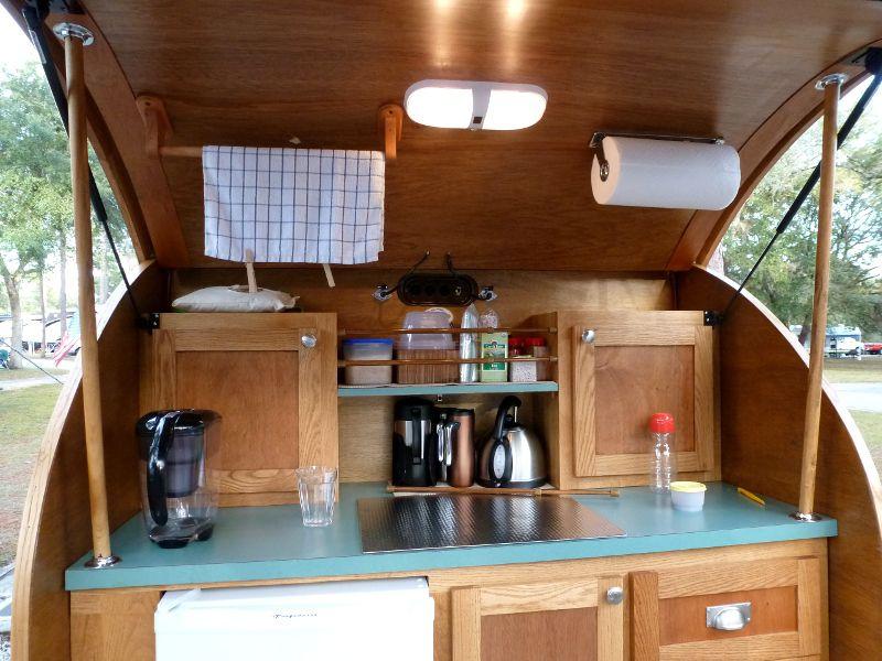 Wood teardrop camper kitchen the o 39 jays campers and woods for Teardrop camper kitchen ideas