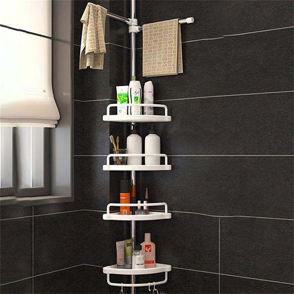Bathroom Adjustable Telescopic Pole Pull Bar Stainless Corner Shelf Rockcoo Shelves Rockcoo Bathroom Corner Rack