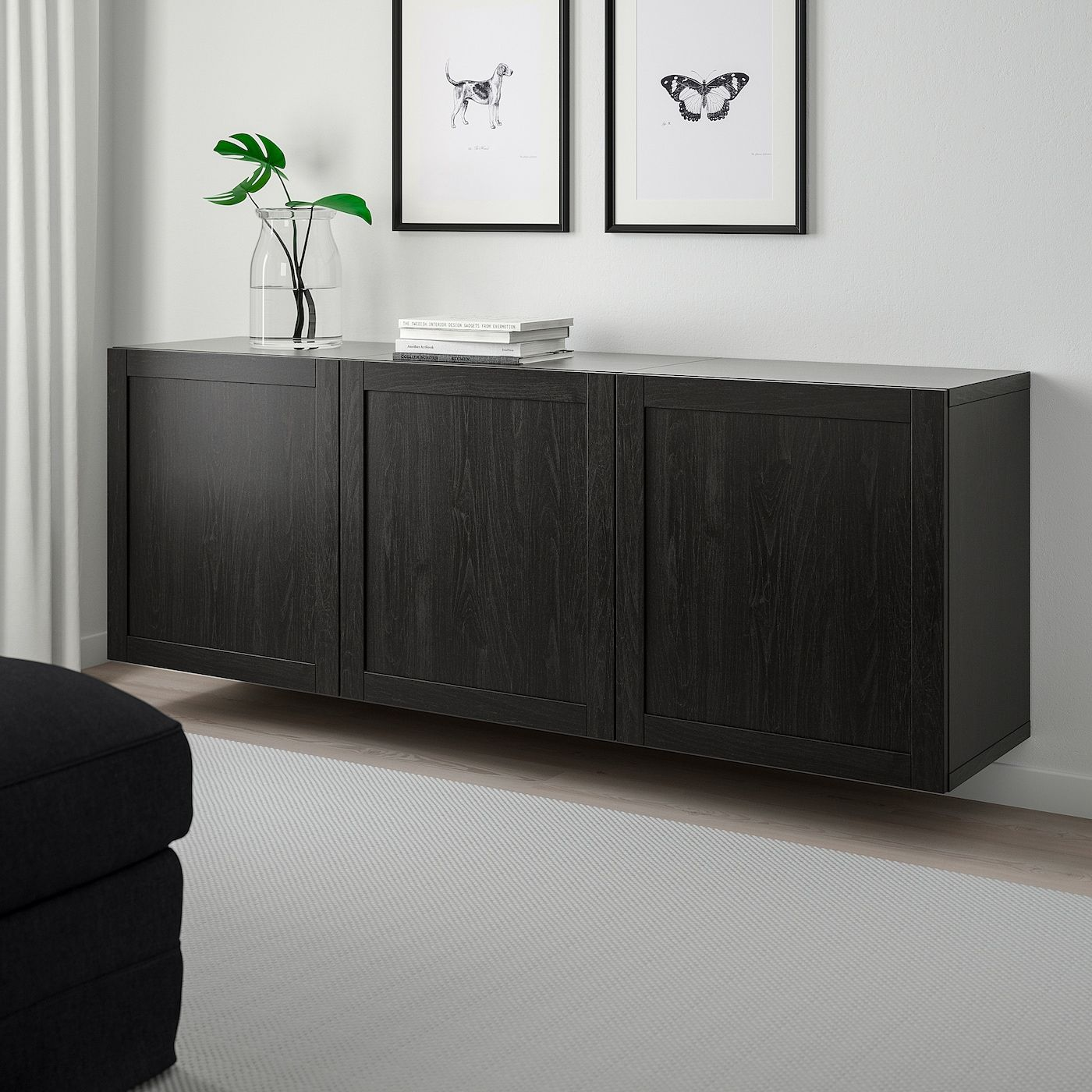 Besta Wall Mounted Cabinet Combination Black Brown Hanviken