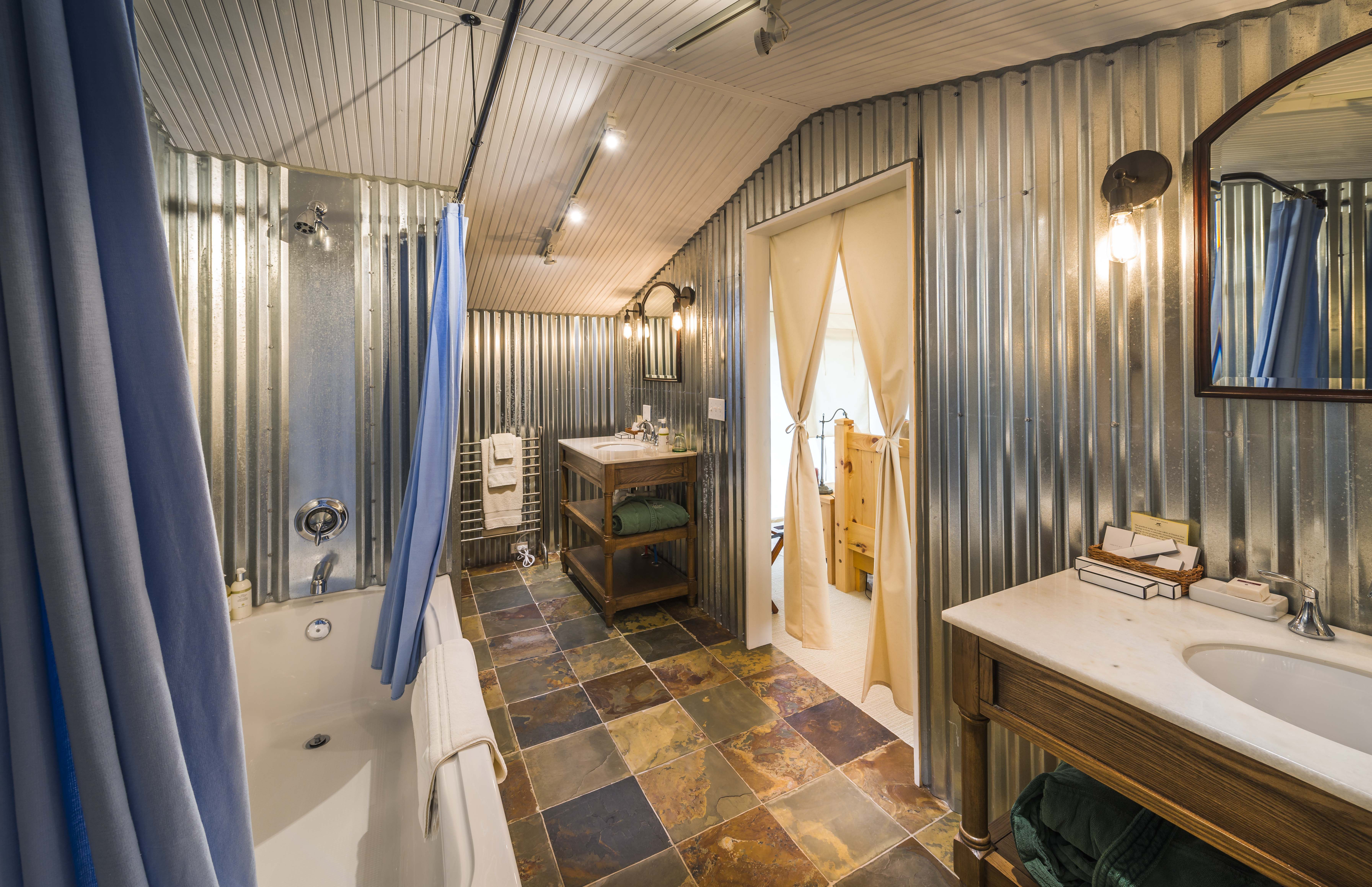 En-Suite bathrooms in these tents, with 6 ft soaking tub, on-demand ...