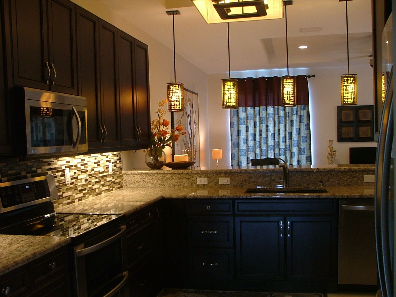 Pictures of kitchen cabinets and granite countertops - Kitchen Specs Espresso Cabinets Granite Countertops Glass Stone Mosaic Tile