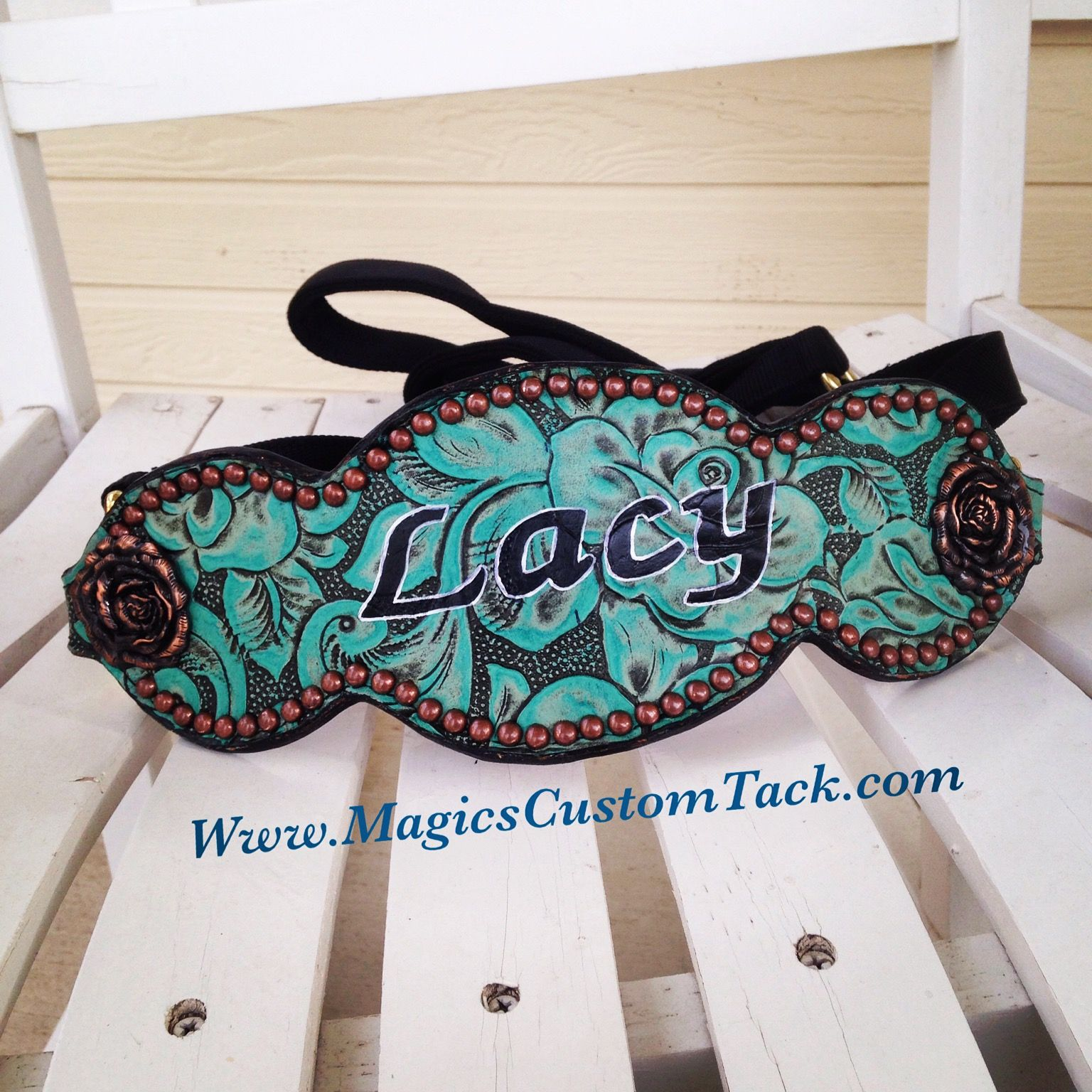 Magics Custom Tack Turquoise and copper custom bronc halter with horse's name on it!  Www.magicscustomtack.com