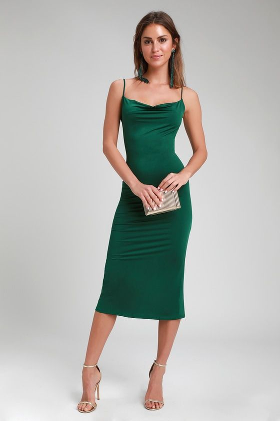 eb72027fbbf6 Shara Dark Green Cowl Neck Midi Slip Dress in 2019 | Lulus | Dresses ...