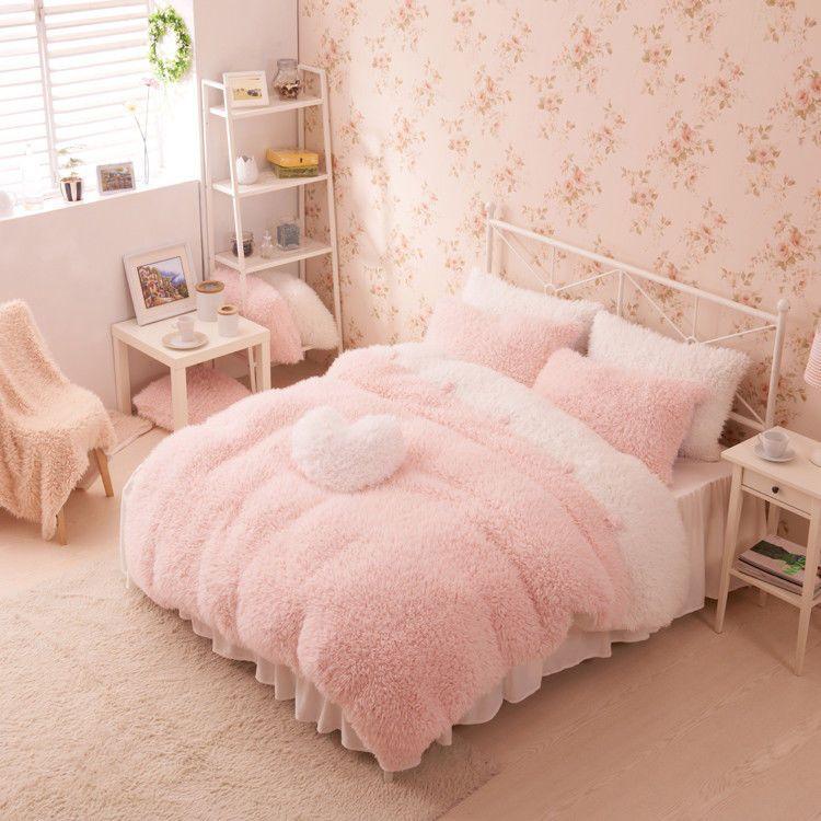Pink White Girls Cashmere Wool Velvet Ruffle Duvet Cover Bedding