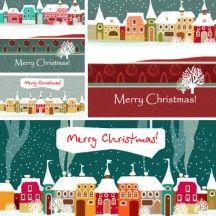 冬の雪景色 町並み 家 建物 枯れ木 ホワイトクリスマス背景イメージ