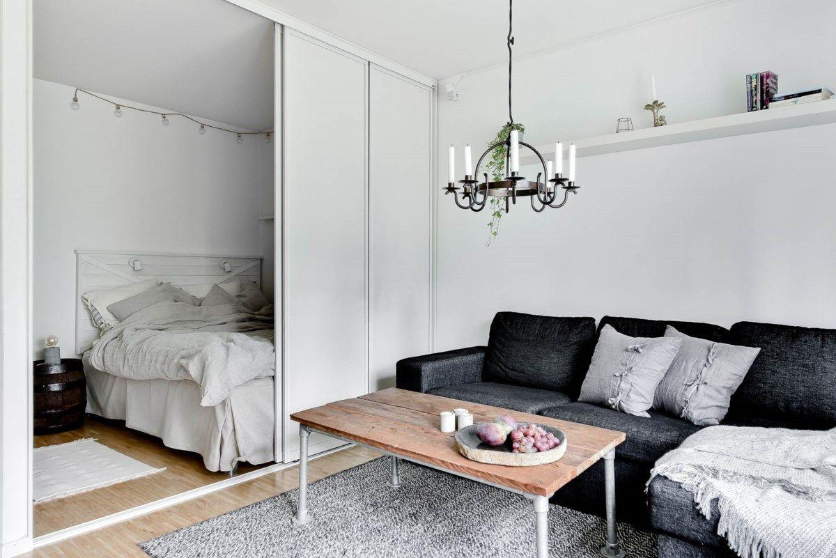 Einrichtungsbeispiele für Wohn und Schlafzimmer in einem Raum ...