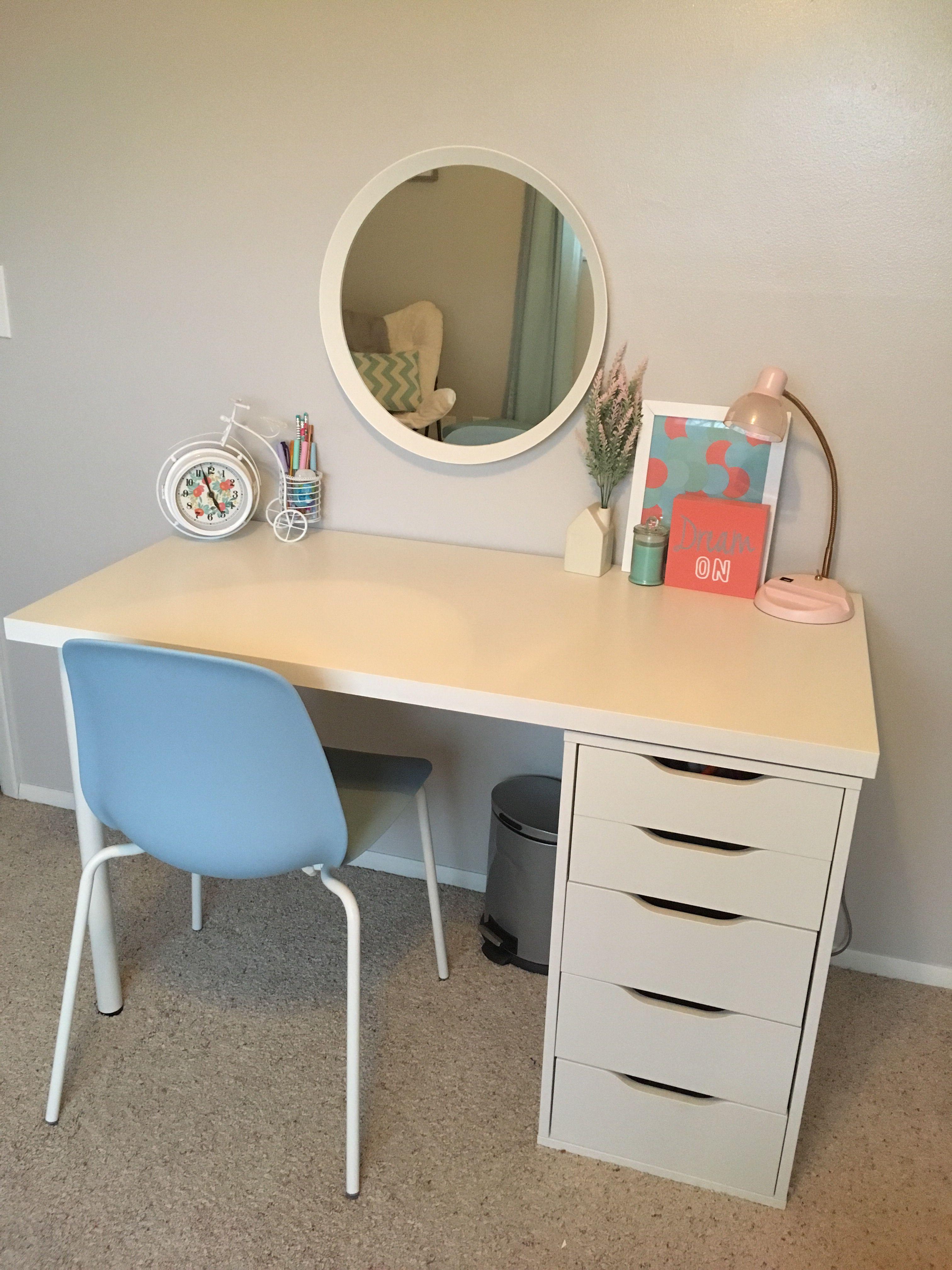 delightful Make Up Desks For Girls Part - 5: Teenage Girl Desk Area for work-makeup