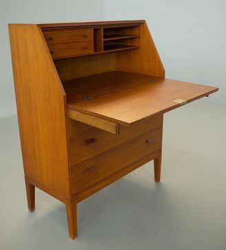 Borge Mogensen Danish Modern Teak Secretary By Vintage Desks Etsy