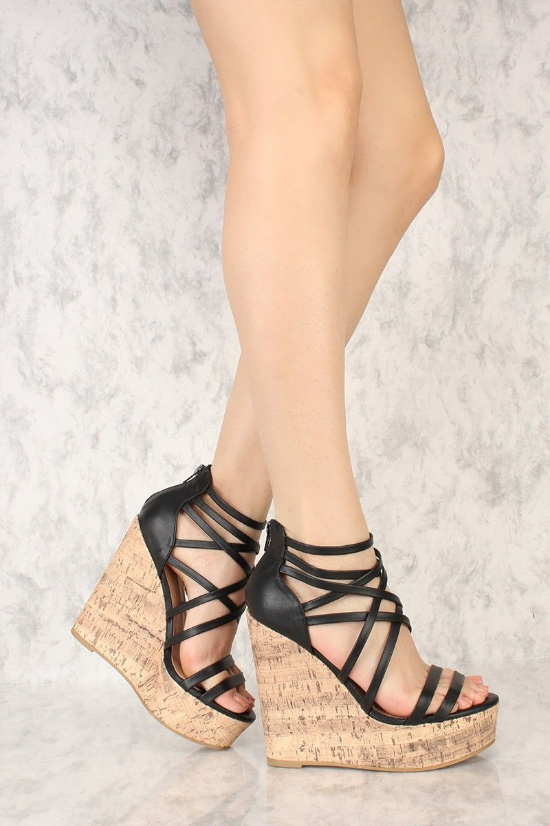 80f4e222d Sexy Black Strappy Detail Open Toe Cork Wedges Faux Leather   Shoes ...