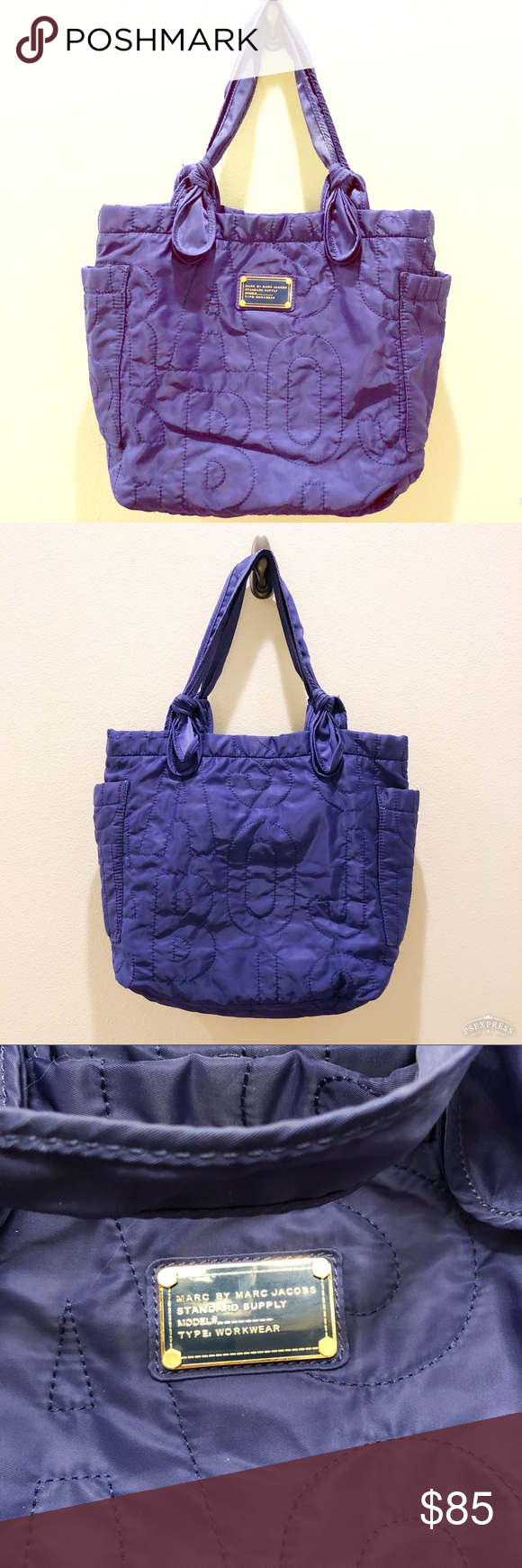 22ad18bcda78 Marc by Marc Jacobs Purple Quilted Nylon Tote Great condition! No  significant spots