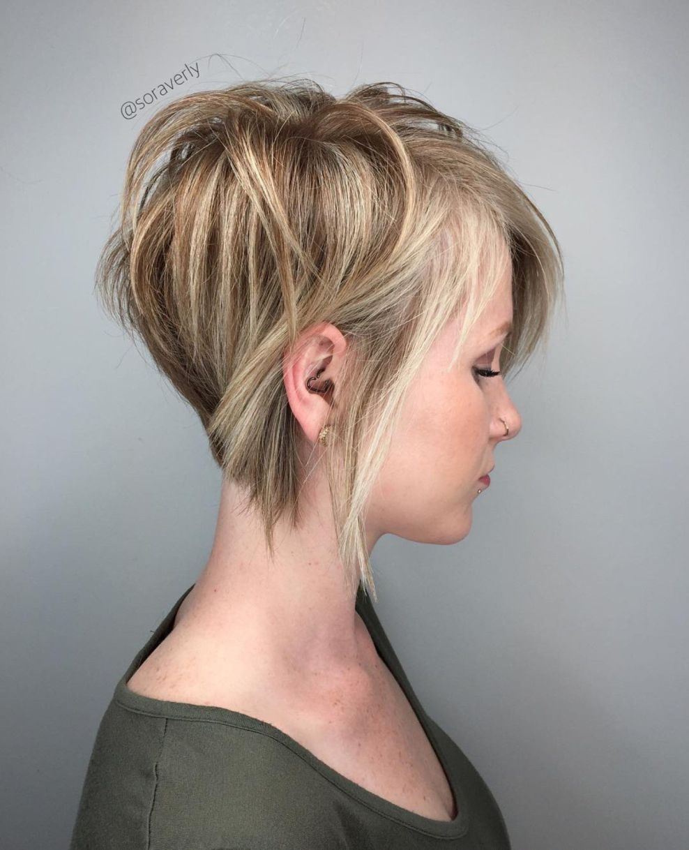 Long Blonde Pixie With Highlights | Bobs for thin hair, Hair styles, Short  hair with layers