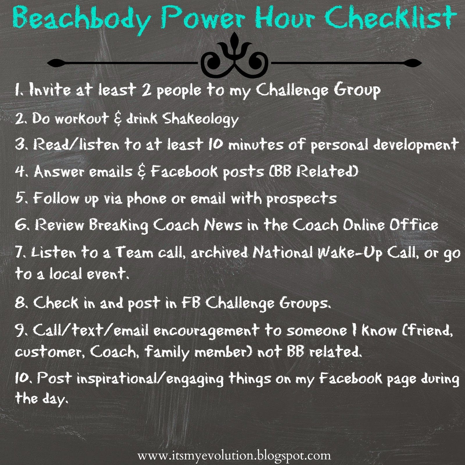 ItS My Evolution Beachbody Power Hour Checklist  Beachbody