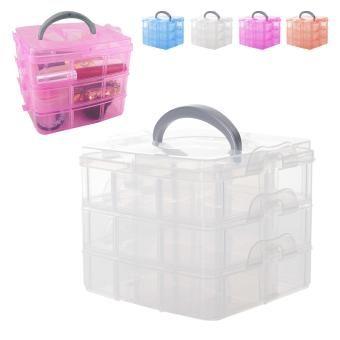 ELENXS Herramientas caja de la caja desmontable contenedor de almacenamiento Organizador de maquillaje joyería de plástico portátil Tocador No.1