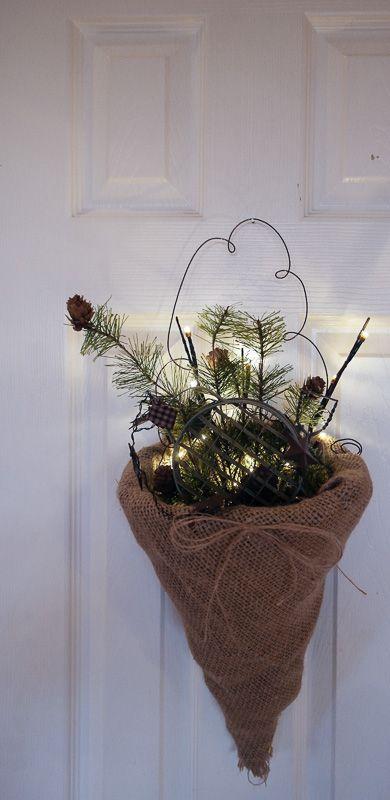 Lighted, hanging cornucopia craft