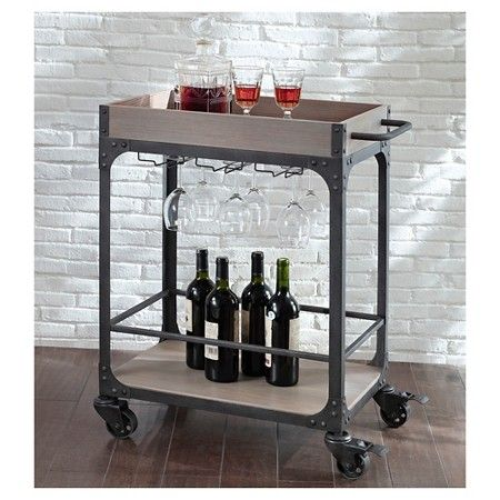 Franklin Large Bar Cart And Wine Rack Weathered Gray The
