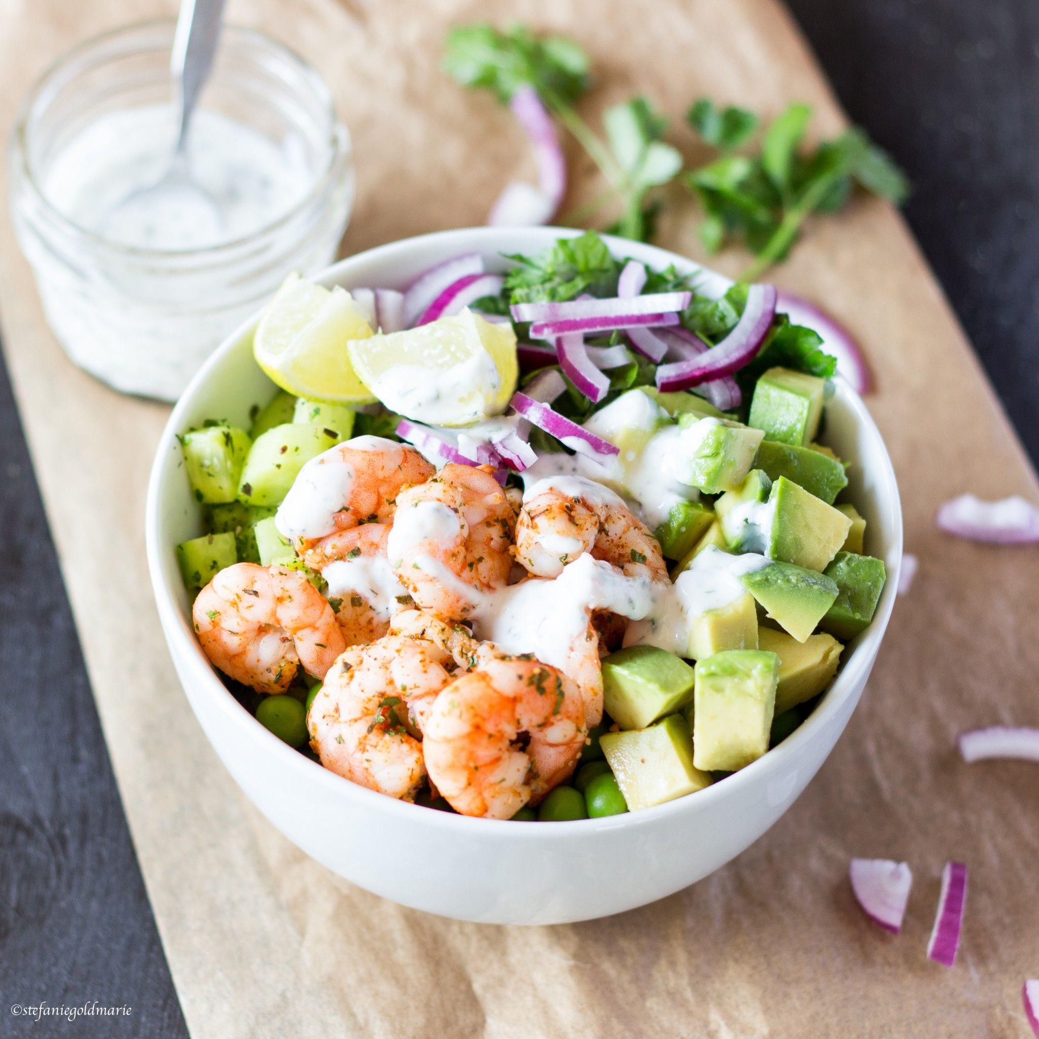 Green Salad Bowl with Prawns, Avocado and Yoghurt Dressing-perfect Summer Food