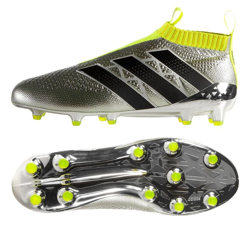 The Original Adidas Laceless Shoe The Ace16 Purecontrol Recieves Its Newest Colorway The Silver And Volt Yellow C Adidas Boots Football Shoes Soccer Cleats