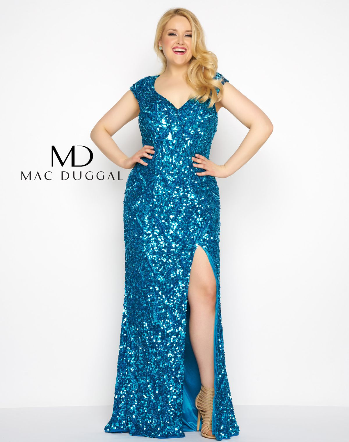 Deep v-neck, cap sleeve, high slit, fully sequined column prom ...