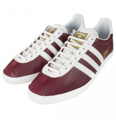 separation shoes 5ebb9 dbfc8 Adidas Originals Gazelle OG Leather Trainers Burgundy