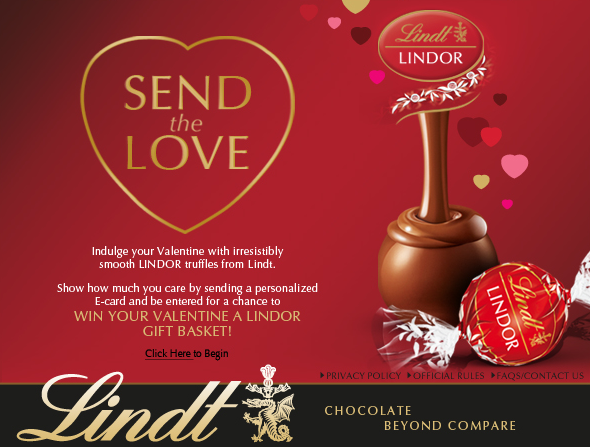 Send a Valentines Day Ecard Enter to Win a Lindor Gift Basket – Send a Valentines Card