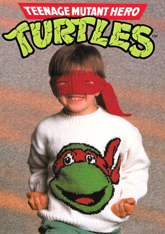 Teenage Mutant Ninja Turtles Jumper And Bandana Eye Mask Etsy Turtle Sweaters Jumper Knitting Pattern Sweater Knitting Patterns