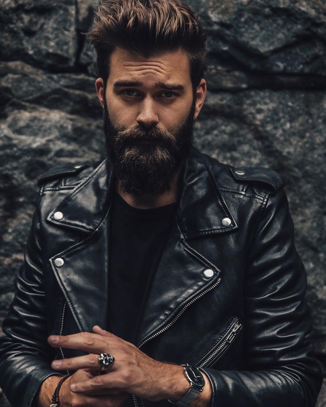 Black Leather Jacket And Beard Slackerblack Leather Jacket Leather Jacket Men Style Mens Fashion Rugged [ 1350 x 1080 Pixel ]