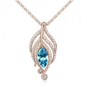 The Leaf Elves Design Austrian Crystal Necklace - Aquamarine