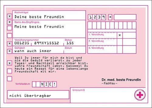 """Rezept Gutschein Karten an""""meine beste Freundin"""" für lebenslange Freundschaft"""