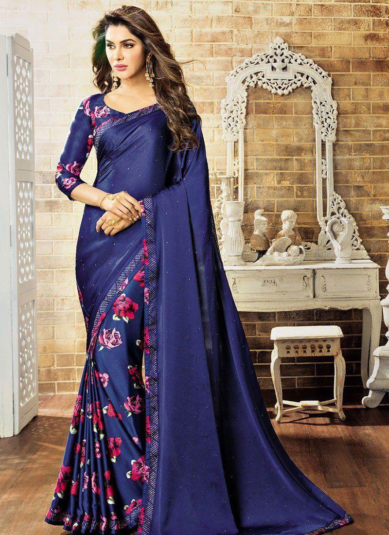 Blue Satin Half And Half Saree