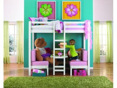 Tea Party Twin Loft Bed with cushions up for benches