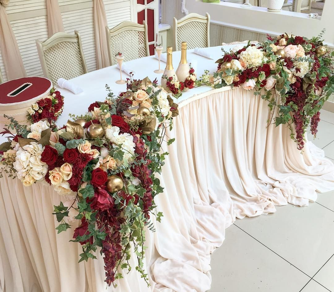 Wedding Head Table Decoration Ideas: Ivory Linen Marsala And Ivory Flowers Sweetheart Table