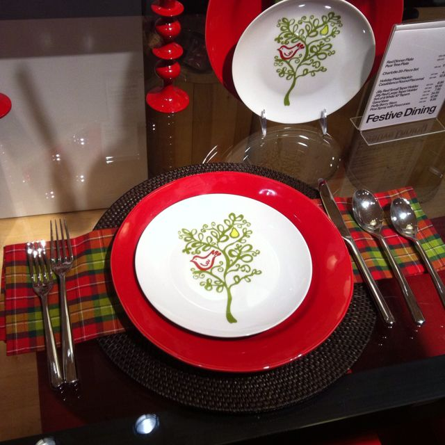 Christmas table setting at Crate & Barrel
