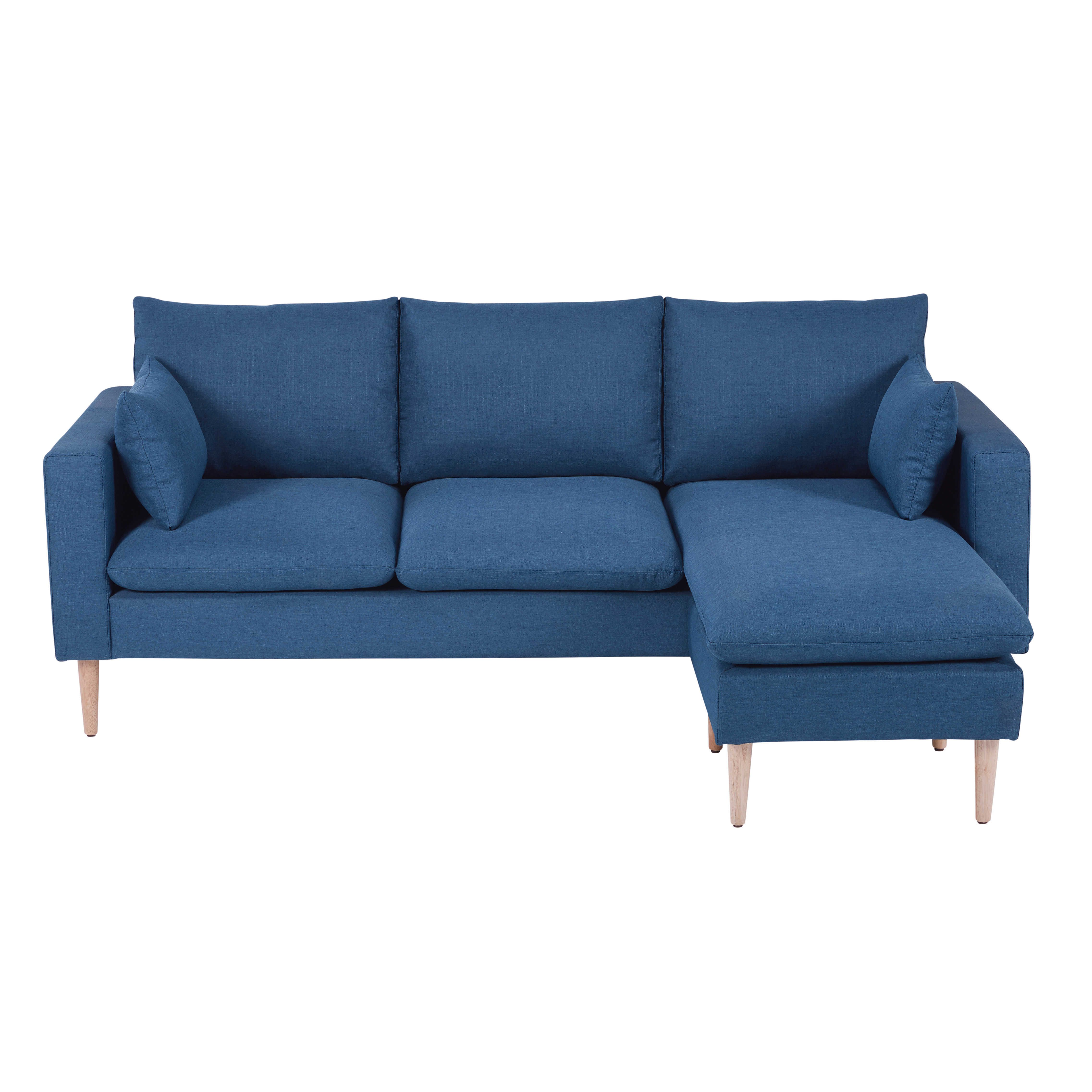 Divani Tre Posti Ad Angolo.Divano Ad Angolo 3 4 Posti Blu In Tessuto Blue Corner Sofas