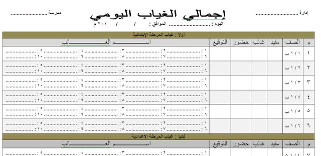 نموذج دفتر غياب التلاميذ اليومي Word لجميع المراحل التعليمية يمكن التعديل عليه Weather Worksheets Words Worksheets