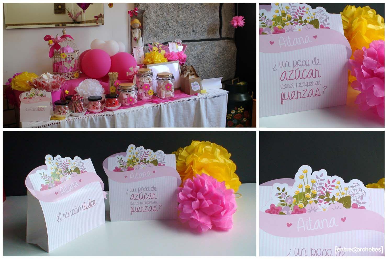 Carteles y pompones de papel para mesa dulce