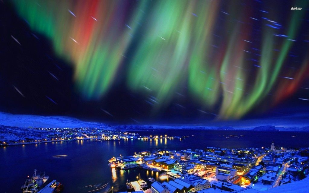The northern lights of Alaska hd wallpaper Aerial View