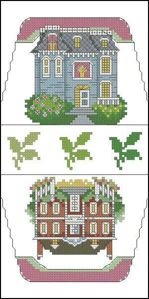 Cross-stitch Houses purse pattern... no color chart available, just use pattern chart as your color guide.. or choose your own colors..