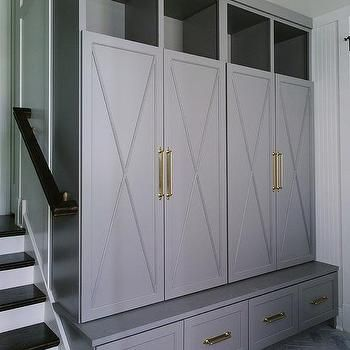Gray X Front Mudroom Locker Doors With Brass Handles Mud Room